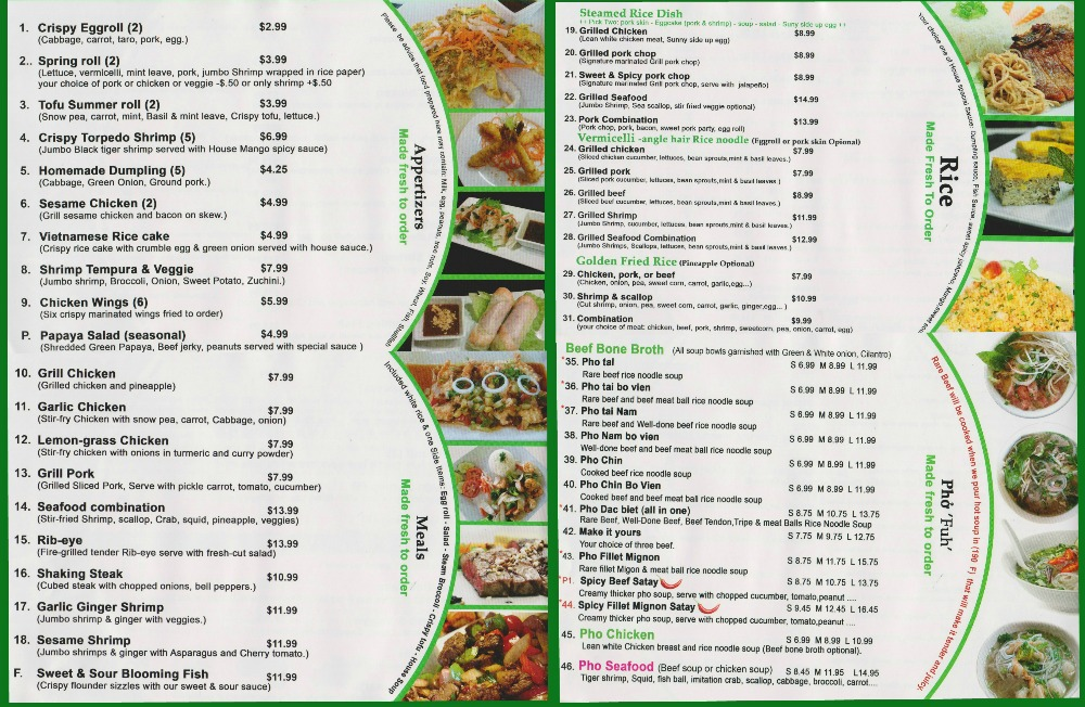 menu Pho Ginseng Huntersville4