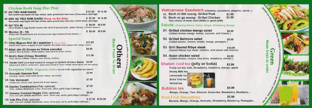 menu Pho Ginseng Huntersville5